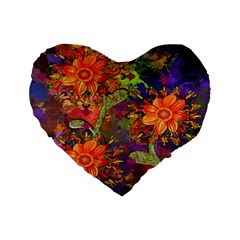 Abstract Flowers Floral Decorative Standard 16  Premium Heart Shape Cushions