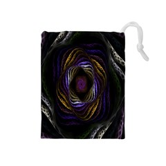 Abstract Fractal Art Drawstring Pouches (medium)