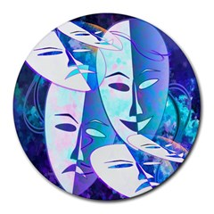 Abstract Mask Artwork Digital Art Round Mousepads by Nexatart