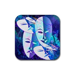 Abstract Mask Artwork Digital Art Rubber Square Coaster (4 pack)