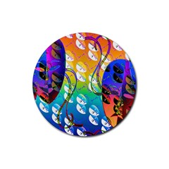 Abstract Mask Artwork Digital Art Rubber Coaster (round)