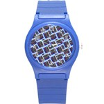 Abstract Pattern Seamless Artwork Round Plastic Sport Watch (S) Front