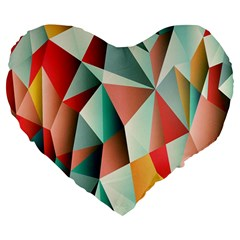 Abstracts Colour Large 19  Premium Flano Heart Shape Cushions by Nexatart