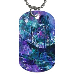Abstract Ship Water Scape Ocean Dog Tag (one Side) by Nexatart