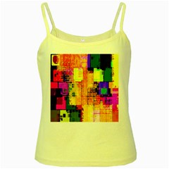 Abstract Squares Background Pattern Yellow Spaghetti Tank