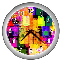Abstract Squares Background Pattern Wall Clocks (silver)  by Nexatart