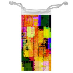 Abstract Squares Background Pattern Jewelry Bag