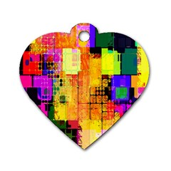 Abstract Squares Background Pattern Dog Tag Heart (two Sides)