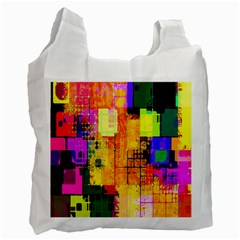 Abstract Squares Background Pattern Recycle Bag (two Side)  by Nexatart