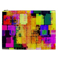 Abstract Squares Background Pattern Cosmetic Bag (xxl)