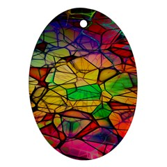 Abstract Squares Triangle Polygon Ornament (oval)