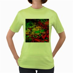 Abstract Squares Triangle Polygon Women s Green T Shirt by Nexatart