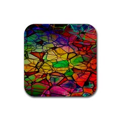 Abstract Squares Triangle Polygon Rubber Coaster (square)  by Nexatart