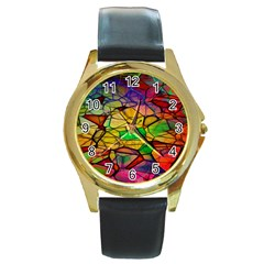 Abstract Squares Triangle Polygon Round Gold Metal Watch