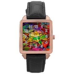 Abstract Squares Triangle Polygon Rose Gold Leather Watch