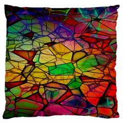 Abstract Squares Triangle Polygon Large Flano Cushion Case (two Sides) by Nexatart
