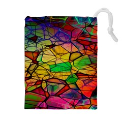 Abstract Squares Triangle Polygon Drawstring Pouches (extra Large) by Nexatart