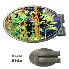 Abstract Trees Flowers Landscape Money Clips (oval)  by Nexatart