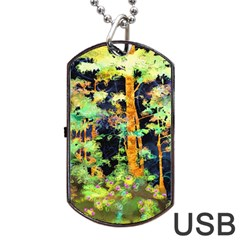 Abstract Trees Flowers Landscape Dog Tag Usb Flash (two Sides)