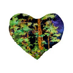 Abstract Trees Flowers Landscape Standard 16  Premium Heart Shape Cushions