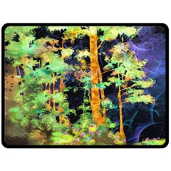 Abstract Trees Flowers Landscape Double Sided Fleece Blanket (large)