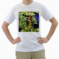 Abstract Trees Flowers Landscape Men s T Shirt (white)