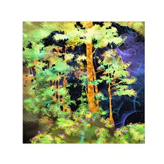 Abstract Trees Flowers Landscape Small Satin Scarf (square)