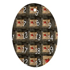 Advent Calendar Door Advent Pay Oval Ornament (two Sides)