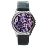 Agate Naturalpurple Stone Round Metal Watch