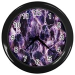 Agate Naturalpurple Stone Wall Clocks (Black)