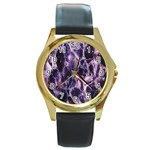 Agate Naturalpurple Stone Round Gold Metal Watch