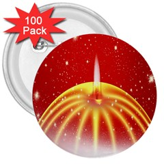 Advent Candle Star Christmas 3  Buttons (100 pack)  by Nexatart