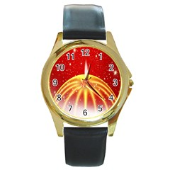 Advent Candle Star Christmas Round Gold Metal Watch