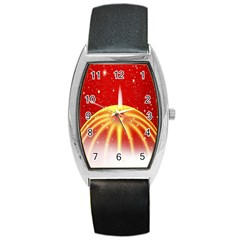 Advent Candle Star Christmas Barrel Style Metal Watch