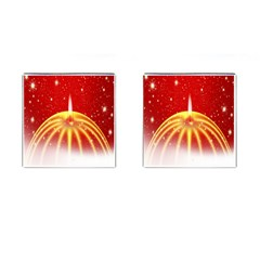 Advent Candle Star Christmas Cufflinks (square) by Nexatart