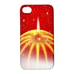 Advent Candle Star Christmas Apple Iphone 4/4s Hardshell Case With Stand