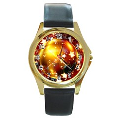 Advent Star Christmas Round Gold Metal Watch