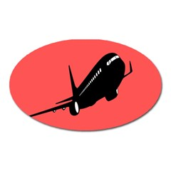 Air Plane Boeing Red Black Fly Oval Magnet by Alisyart