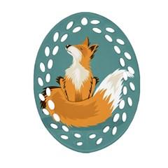 Animal Wolf Orange Fox Oval Filigree Ornament (two Sides) by Alisyart