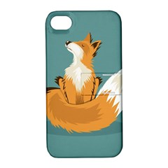 Animal Wolf Orange Fox Apple Iphone 4/4s Hardshell Case With Stand by Alisyart