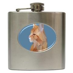 Animals Face Cat Hip Flask (6 oz) by Alisyart