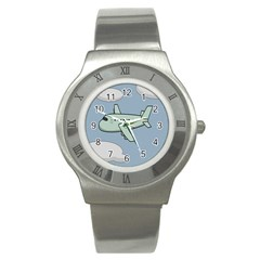Airplane Fly Cloud Blue Sky Plane Jpeg Stainless Steel Watch by Alisyart
