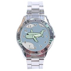 Airplane Fly Cloud Blue Sky Plane Jpeg Stainless Steel Analogue Watch by Alisyart