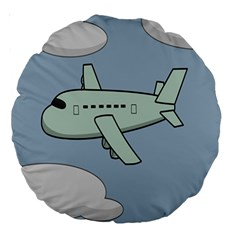 Airplane Fly Cloud Blue Sky Plane Jpeg Large 18  Premium Round Cushions by Alisyart