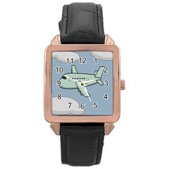 Airplane Fly Cloud Blue Sky Plane Jpeg Rose Gold Leather Watch  by Alisyart