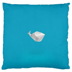 Animals Whale Blue Origami Water Sea Beach Large Cushion Case (two Sides) by Alisyart