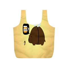 Bear Meet Bee Honey Animals Yellow Brown Full Print Recycle Bags (s)