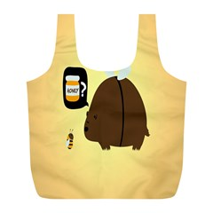Bear Meet Bee Honey Animals Yellow Brown Full Print Recycle Bags (l)