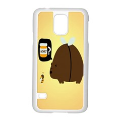 Bear Meet Bee Honey Animals Yellow Brown Samsung Galaxy S5 Case (white)