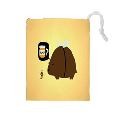 Bear Meet Bee Honey Animals Yellow Brown Drawstring Pouches (large)